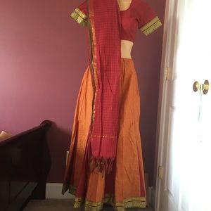 New 3pc Orange & Red Lehenga w/ Blouse & Dupatta
